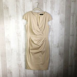 [Tadashi Shoji] Nude Faux Wrap Tan Sheath Dress
